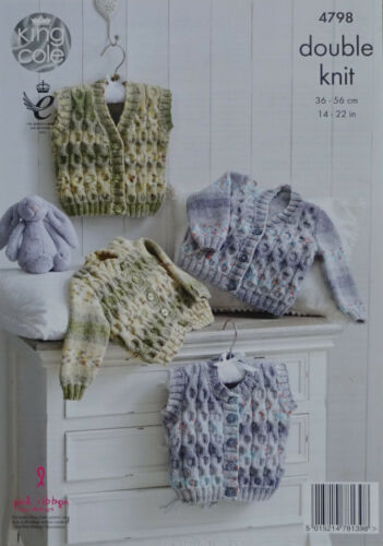 KNITTING PATTERN Baby Long Sleeve Cable Cardigans /& Waistcoats King Cole DK 4798