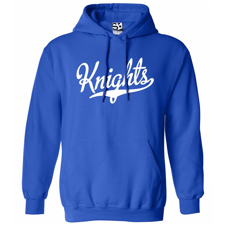 Knights Script & Tail HOODIE - Hooded School Sports Team Sweatshirt - All Farbes