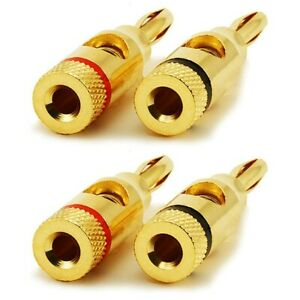 2 Pairs L-Shaped Speaker Banana Plugs+2 Pairs Closed Screw 24K Gold Plated Banana Speaker Plug Connectors for Speaker Wire