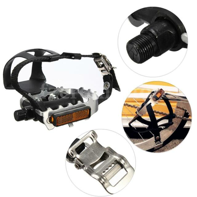 Bike Cycling Alloy Bicycle Pedal With Toe Clips And Straps Lightweight MTB
