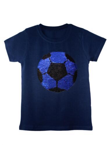 Boys Football Tiger T-Shirt Brush Changing Sequin Girls Short Sleeve Tee Tops