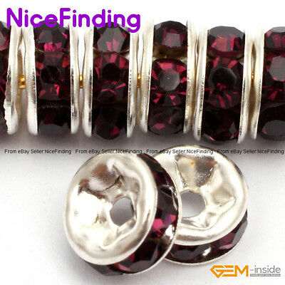 Rhineston Czech Crystal Rhinestone Silver Rondelle Spacer Beads 100 Pcs 6,8,10mm