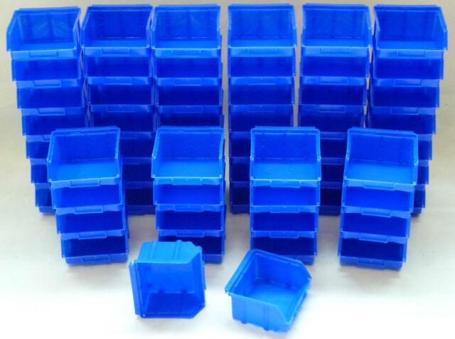 15 Stapelboxen Gr.1 Kunststoff PP blau Sichtlagerkästen Stapelkästen Lagerboxen