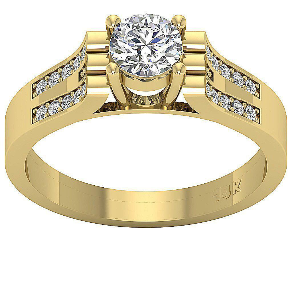 I1 G 0.75 Ct Round Natural Diamond Solitaire Anniversary Ring 14K Yellow gold