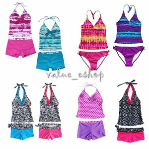 6893c46abb Image is loading Girls-Kids-Tankini-Set-Swimming-Bikini-Costume-Swimsuit-