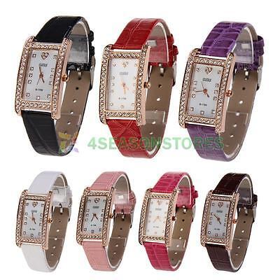 Fashion Womens Quartz Crystal Rhinestone Wrist Dial PU Leather Luxury Watch