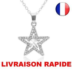 COLLIER-ETOILE-Cristal-Crystal-Femme-Pendentif-Star-Chaine-Mode-Exquis-Cadeau