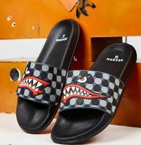 Reason Clothing Shark Slide Black