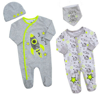 Baby Sleepsuit All in One Babygrow With Bib /& Hat White Grey Bunny 0-9 months