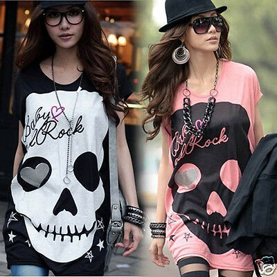 HOT Women's Fashion Cute Japanese Punk Skull Sexy Fun Top Shirt LT