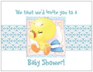 Detalles De 20 Baby Boy Piolín Looney Tunes Ducha Invitaciones Post Flat Tarjetas Ver Título Original