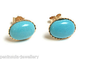 9ct-Gold-Turquoise-Oval-Stud-Earrings-Gift-Boxed-Made-in-UK-Christmas-Gift