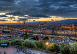 FLORENCE-EVENING-NEW-A3-CANVAS-GICLEE-ART-PRINT-POSTER-FRAMED