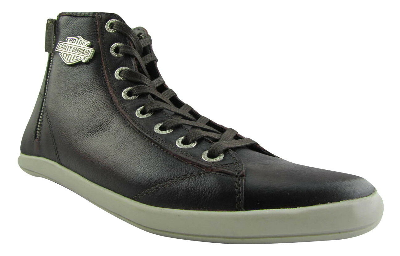 HARLEY Davidson OBERLIN Marrone Scuro in Pelle Da Motociclista Uomini Scarpe HIGH TOP SNEAKER ZIP