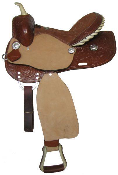 doppio T Barrel stile Saddle with Rough Out Fenders e Jockies 14 15 16 nuovo