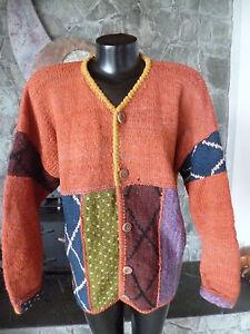 World-Folk-Art-Heavy-Cardigan-Sweater-Patchwork-Effect-Nanaimo-Canada-L