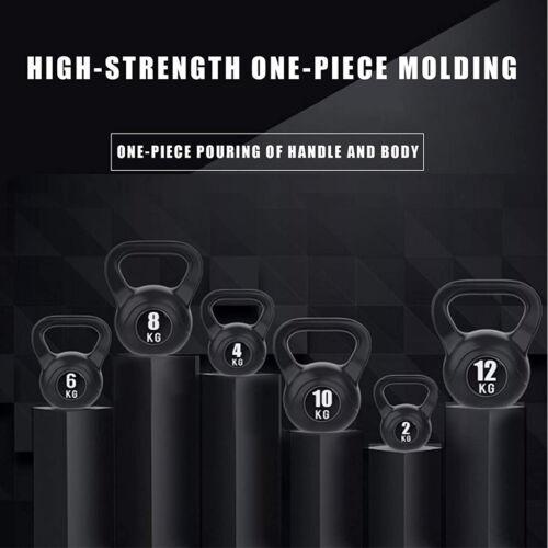 Vinyl Kettlebell Weight Set Home Gym Fitness Strength Training 8kg 10kg 12kg UK