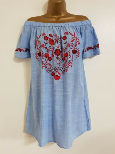 Plus rosso Evans Size Cotton New floreale Ex 30 con Heart Top motivo ricamato 16 blu gEqwpw6