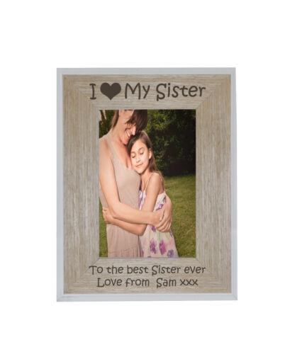 I Heart-LOVE ma soeur 5 x 7 Cadre Photo Blanc Bord Cadre en Bois-Gravure Gratuite