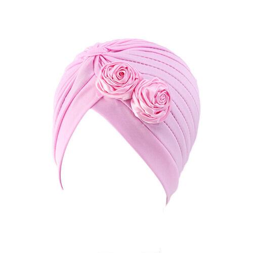 Women Indian Chemo Flower Pleated Turban Hair Loss Hat HeadWrap Hijab Muslim Cap