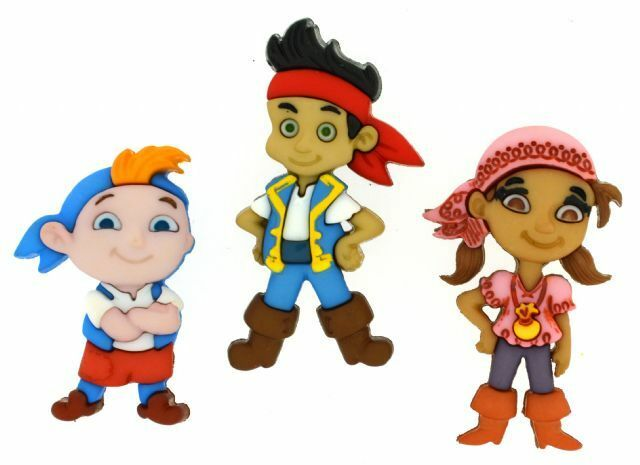 Jesse James Dress It Up Buttons ~ LICENSED  DISNEY JAKE & THE NEVERLAND PIRATES