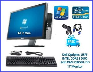 "Dell Optiplex All in One USFF Core 2 Duo 17"" TFT 4GB RAM 250GB   Win 7 DVD RW.."