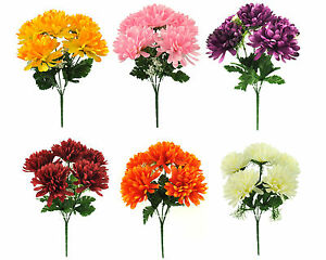 Artificial silk flowers chrysanthemum bunch 6 colours wedding home image is loading artificial silk flowers chrysanthemum bunch 6 colours wedding mightylinksfo