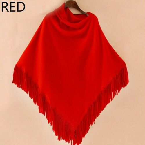 Lady Knitted Poncho Cape Wrap Shawl Asymmetric Sweater Top Batwing Fringe Exotic