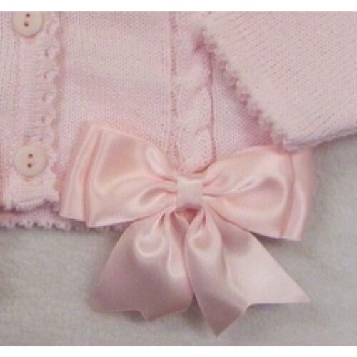 Cardigan Baby Girls Kinder Pink Satin Bow Trim Bolero