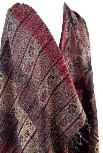Paisley Kani Jamavar Wool Shawl Pashmina Scarf Stole 864 Maroon Beige Cream Red