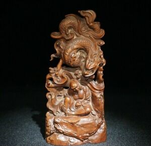 Collect natural Boxwood carved dragon Xianglong arhat Statue figurines monk