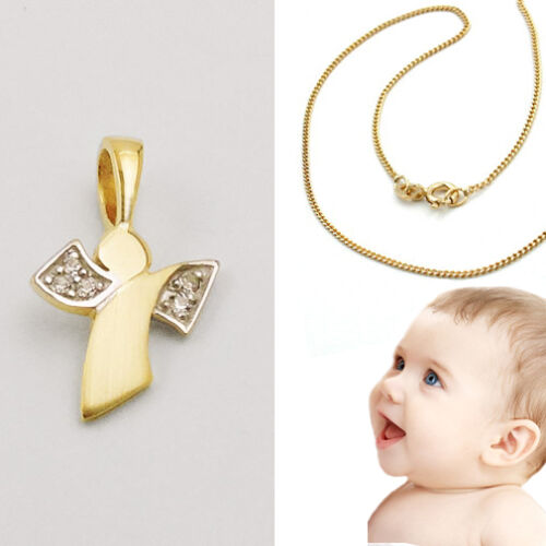 Schutz Engel Echt Gold 333 mit Steine Baby Kinder mit Kette Silber 925 vergoldet