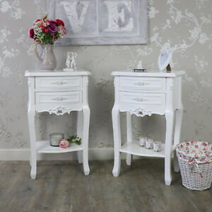 pair 2 white rose bedside tables cabinets shabby vintage chic ...