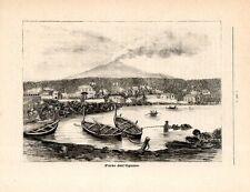 Stampa antica CATANIA Porto di Ulisse ad Ognina barche Sicilia 1885 Old print