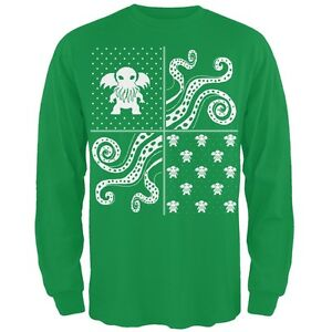 image is loading cthulhu lovecraft ugly christmas sweater green long sleeve - Ebay Ugly Christmas Sweater