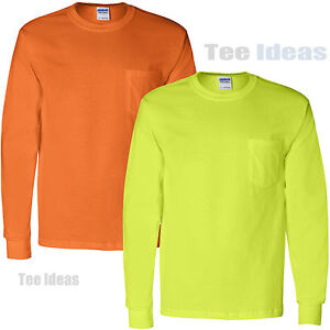 042c2ee8f95 Gildan High Visibility Long Sleeve T-Shirts with a Pocket Safety ...