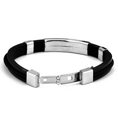 Luxury Mens Leather Braided Stainless Steel Magnetic Clasp Bracelet Fashion Cuff