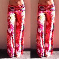 Women Casual Pants Wide Leg Long Bohemian Loose Palazzo Trousers Beach Pants