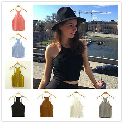 Sexy Fashion Women Summer Cute Knitted Sleeveless Crop Top Casual Blouse Tops