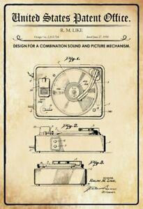 Ee-uu-Patent-Tocadiscos-Record-Jugador-1950-Letrero-Cartel-de-Lata-20-X-30CM