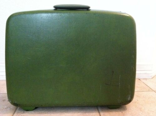 Vintage 60's suitcase hard shell avocado green car
