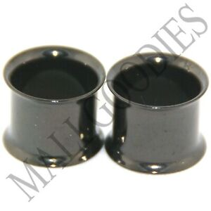 0225-Black-Double-Flare-Flesh-Tunnels-Earlets-Saddle-Gauges-7-16-034-Ear-Plugs-11mm