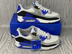 Details about NIKE AIR MAX 90 WHITE / ROYAL BLUE / PARTICLE GREY / BLACK MEN'S CD0881 102