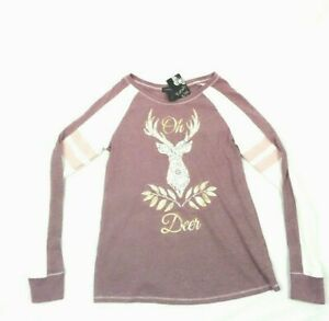 Kandy Kiss Oh Deer Graphic Print Pink Long sleeves Top for Girls Size 16 XL