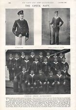 1897 ANTIQUE MILITARY PRINT- THE GREEK NAVY, CADETS,BLUEJACKETS,OFFICERS,2 PAGES
