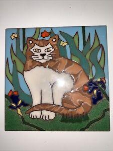 "Tabby Cat Ceramic Tile Hot Plate Trivet Triton Hand Painted Original Design 6"""
