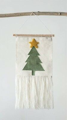 Creative Co-Op XM1590 Woven Wool Tapestry Wall Decor w// Christmas Tree 28 x 14