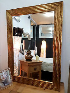 Large Antique Gold Wave Design Mirror Wood Frame Bevelled