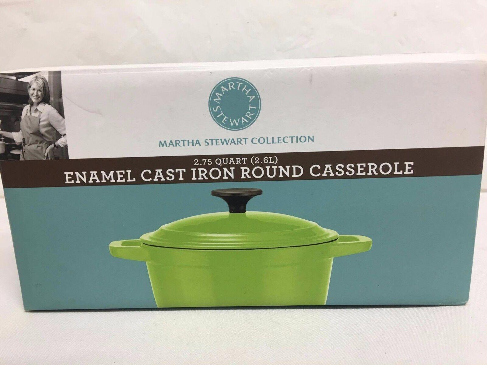 MARTHA STEWART 2.75 QT Enamel Cast Iron Round Casserole, vert, NEUF