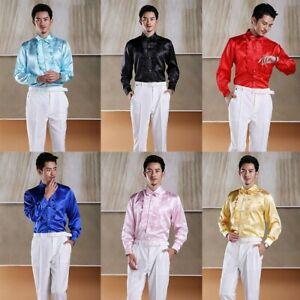 Men Long Sleeve Ruffle Pleated Front Shirt Frill Top Shiny Wet-Look Wedding Slim